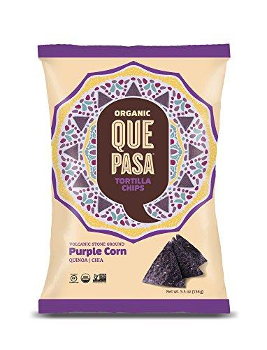 Que Pasa Organic Tortilla Chips, Purple Corn, 5.5 Ounce (Pack of 12)