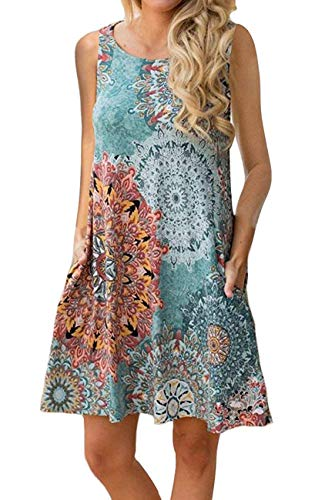 - Andaa Women's Summer Casual Sleeveless Long Tunic Tops Crew Neck Floral Printed Loose T-Shirt Dresses with Pockets (Peacock, XL)
