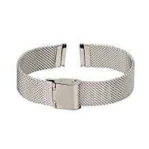 Xuexy 14mm Pebble Time Round Stainless Steel Watch Band Milanese Wire Mesh Strap Replacement Bracelet, Silver