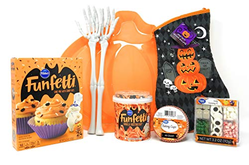 Halloween Cupcake Baking Set - Including Mix, Icing, Candy Topping, Festive Oven Mit, Pumpkin Serving Tray and MORE. -