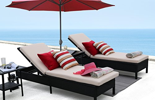 Baner Garden X15 Modern Outdoor Pool Patio Furniture Adjustable One Single Chaise Lounge Chair with Two Beige Cushions (Furniture Garden Baner Outdoor)