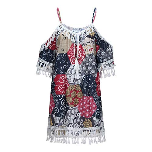 iZHH Novelty Dress for Women Off Shoulder Dress Tassel Bohemia Printed Cocktail Party Beach Dresses ()