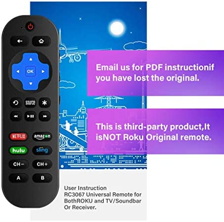 Universal Remote Control Compatible with Roku Player With 9 More Learning Keys to Control TV Soundbar Receiver All in One (Fit For Roku 1 2 3 4 Premier+ Express Ultra)【NOT FOR Roku STICK 】