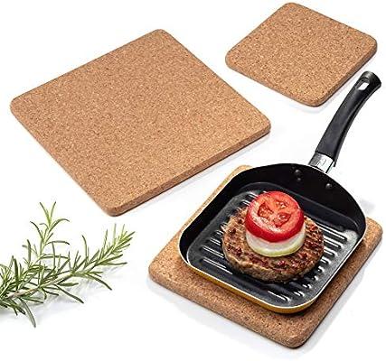 Pack de 3 salvamanteles cuadrados de corcho para cocina con ...
