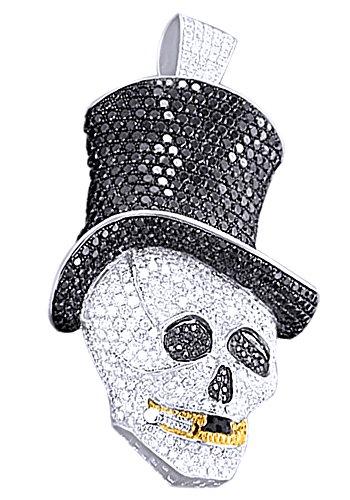Wishrocks Black & White CZ Men's Cap Skull Pendant Hip Hop Jewelry in 14K Gold Over Sterling Silver by Wishrocks