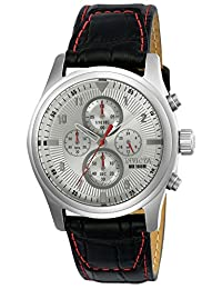 Invicta Men's 'Aviator' Quartz Stainless Steel and Leather Casual Watch, Color: Black (Model: 22976)
