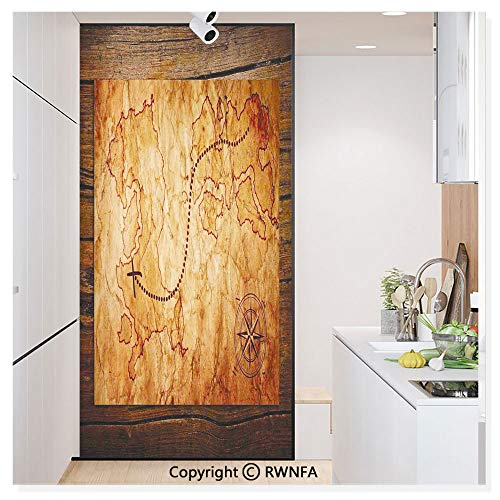 RWN Film Window Films Privacy Glass Sticker Dated Old Map in Dense Color on Wooden Background Hide Out Shores Art Design Static Decorative Heat Control Anti UV 30In by 59.8In,Orange Brown