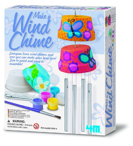 4M Make A Wind Chime Kit - Arts & Crafts Construct and Paint a Wind Powered Musical Chime DIY Gift for Kids, Boys & Girls