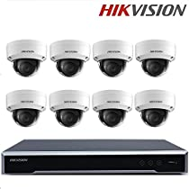 Hikvision Original English H.265 CCTV Security System DS-7616NI-K2/16P 16ch NVR with 2SATA and 16 POE ports POE + DS-2CD2155FWD-IS 5MP Network Mini Dome + Seagate 4TB HDD (16 Channel + 8 Camera)
