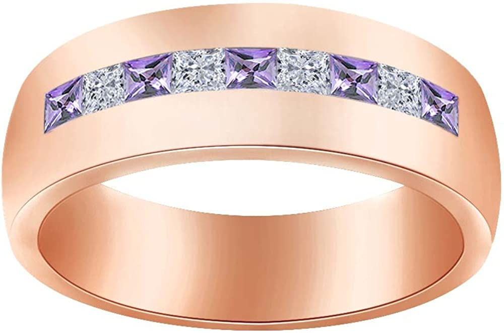 Wishrocks Simulated Birthstone with CZ Mens Wedding Band Ring in 14K Rose Gold Over Sterling Silver