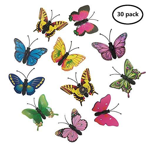 EnewLife 30 Pcs Creative Decorative Cute Thumb Tacks PushPins Push Pins Soft Flat for Home and Office Photos Wall, Maps, Bulletin Board or Corkboards (30 Pcs Butterfly Pins) ()
