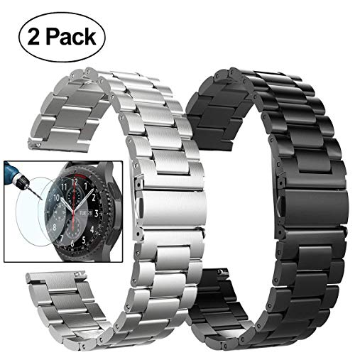 (Gear S3 Frontier/Classic Watch Bands, 22mm Solid Stainless Steel Metal Replacement Smart Watch Strap Business Bracelet + Tempered Glass for Samsung Gear S3 Frontier/s3 Classic Sport Smart Watch)