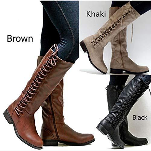 Haute Femme Kaki Cuir Bas Hibote Bottes Genou marron Femmes Noir Fermeture Bottines Confortable Mode Chaussures Longues Éclair Occasionnels Plates Talon kaki 0RIwYExqY