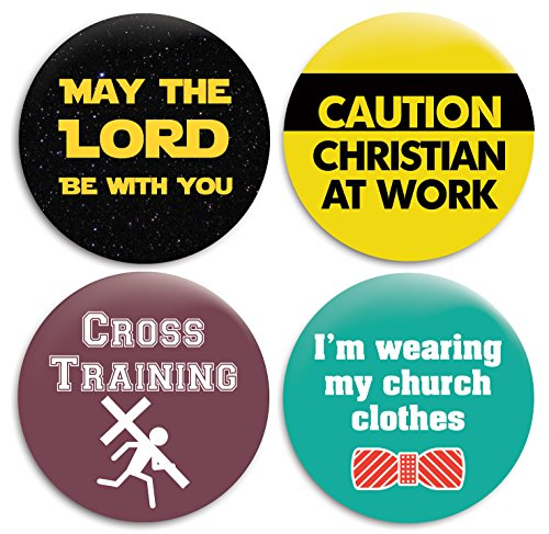 Christian Church Pinback Buttons/Pins - 2.25 inches - Set of 4