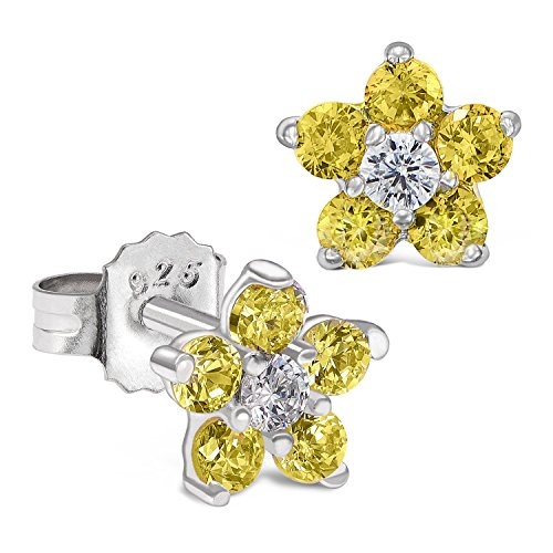 Sterling Silver Flower Stud Earring with Simulated Birthstone CZ for Girls ()