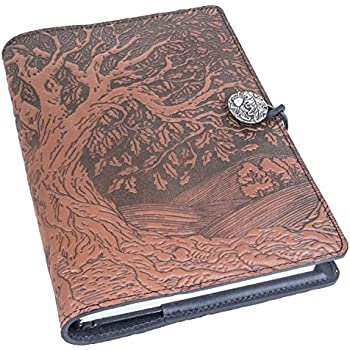 Genuine Leather Refillable Journal Cover + Hardbound Blank Insert | 6x9 Inches | Tree of Life, Saddle With Pewter Button | Made in the USA by Oberon Design