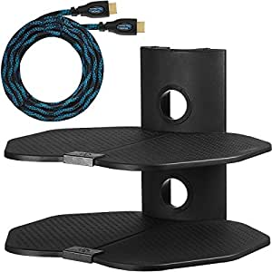 "Cheetah Mounts AS2B 2 Shelf TV Component Wall Mount Shelving Bracket with 18x16"" Shelf, 15' Twisted Veins HDMI Cable for Satellite Box, Cable DVD Player, Game Station, Receiver, TVs"