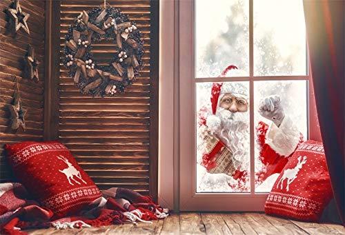 Leyiyi 7x5ft Photography Background Merry Christmas Backdrop Happy New Year Xmas Holiday Santa Claus Knocking Window Elk Reindeer Pillow Vintage Wooden Room Wreath Photo Portrait Vinyl Studio Prop