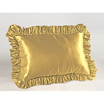 Amazon Com Gold Satin Ruffled Pillow Sham Queen Home
