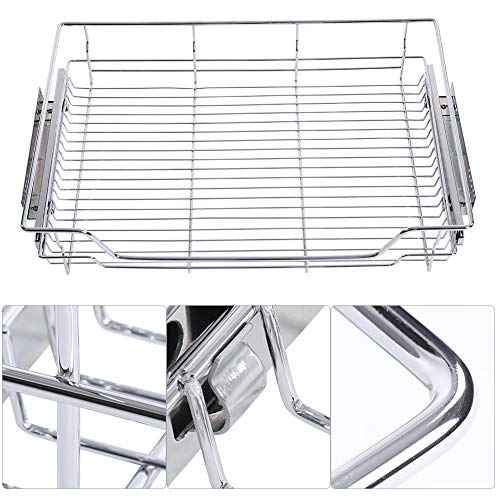 nizer, Stainless Steel Pull-out Cabinet Basket Organizer Wire Storage Basket Drawer Single Shelf For Dish Bowl Pan Household (640mm / 25.2in Wide) ()