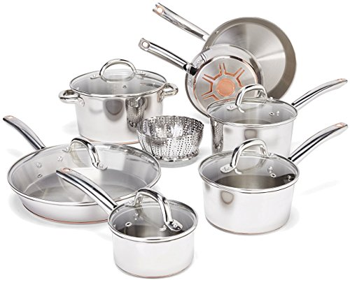 T-fal Cookware Set, Pots and Pans Set, 13 Piece, Stainless Steel with Copper Bottom, Silver (Renewed)