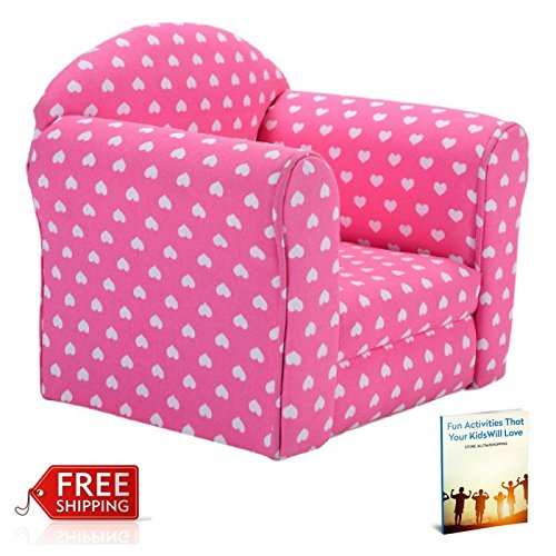 Kids Chair Sofa Armchair Pink Portable Toddler Seat Girls Playing Soft Comfortable & eBook by AllTim3Shopping by ATS