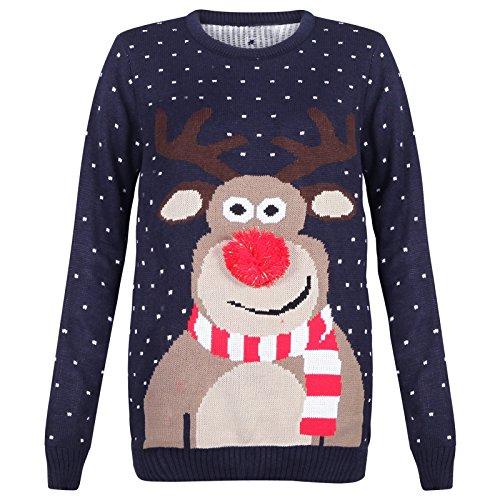 Myshoestore® - Jersey de punto de Navidad vintage, unisex, tamaño grande Navy / Reindeer with Pom Pom Nose