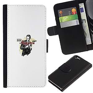 YiPhone /// Tirón de la caja Cartera de cuero con ranuras para tarjetas - SER IMPRESIONANTE DIVERTIDO BARNEY BARNY - Apple Iphone 6