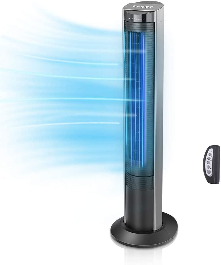 Airvention - Tower Fan 41 inch, Quiet, Remote Control, Timer, 100° Oscillating Air Circulator, 12° Tilt Floor Standing Fans, Energy Saving, Tall Bedroom Cooling Ventilator, 3 Speeds, X02, Black