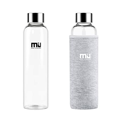 MIU COLOR Botella de Cristal, Elegante, 550 ML, con Funda de Nailon para