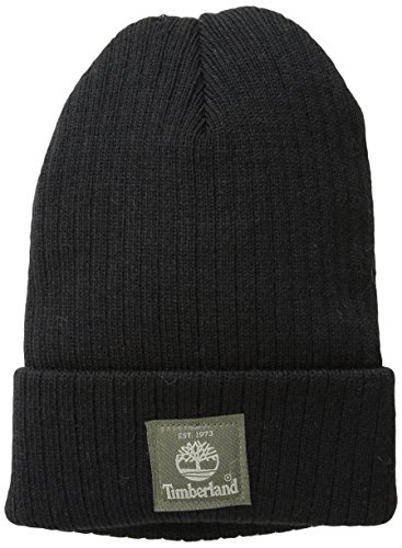 Timberland Men's Heathered Ribbed Watch Cap with Patch Logo, Black, One Size
