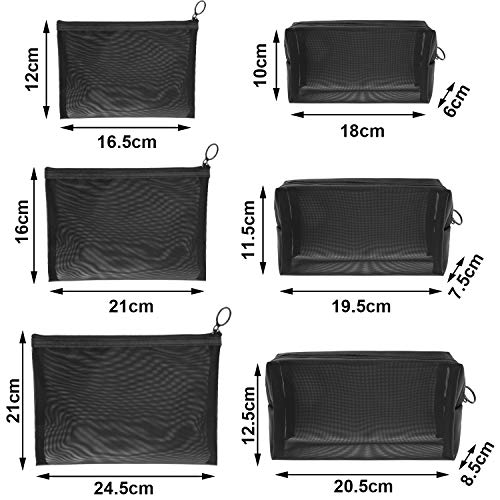 6 Pieces Mesh Cosmetic Bag Mesh Makeup Bags Mesh Zipper Pouch Portable Travel Makeup Pouches for Home Office Travel Accessories