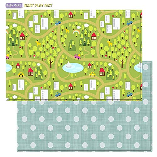 Baby Care Play Mat - Playful Collection (Country Town - Blue, Large) - Play Mat for Infants - Non-Toxic Baby Rug - Cushioned Baby Mat Waterproof Playmat - Reversible Double-Sided Kindergarten Mat