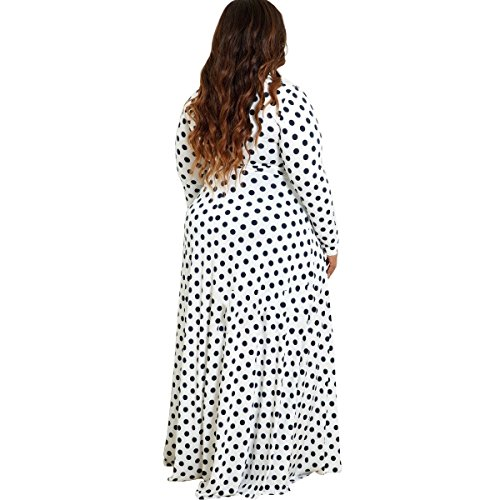 Dot Stylish Long White Long Polka Cross Women Bechwear Sleeve Coolred Sexy Dress xnYSO0RwqS