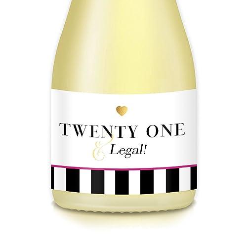 Womans 21st HAPPY BIRTHDAY Party Ideas Decorations Mini Wine Bottle Labels 35quot