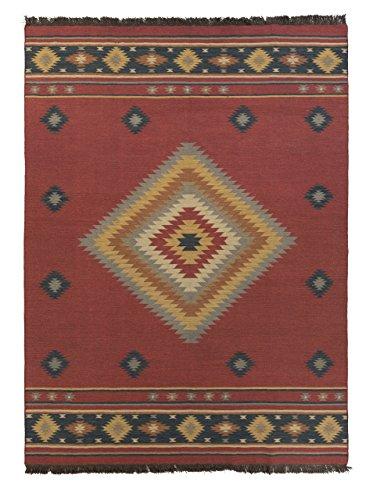 (Surya Jewel Tone JT-1033 Flatweave Hand Woven 100% Wool Maroon 9' x 13' Southwest Area Rug)