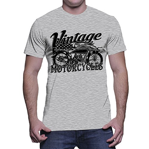 Men's Vintage Motorcycles T-shirt (Light Gray, X-Large) (Vintage Motorcycle Shirts)