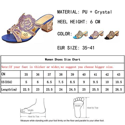 Carrés Tongs Ouverts Femme Talons Strass Blue Extérieur Pantoufles Confortables Fleur Gladiateur Lumino Cristal Sandales q8RAx0AwU