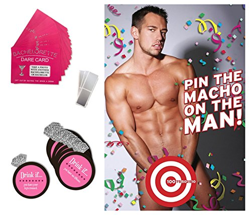 Bachelorette Party Games & Bridal Shower Supplies - 20 Dare Card Game, 30 Drink If Cards, Pin the Macho on the Man w/ 24 Machos, Bride Set Gifts, Naughty Lesbian Hen Party Decor Favors ~ By PRIMEasy by PRIMEasy