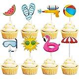 Mulukaya 32Pcs Summer Pool Theme Beach Ball Sun Umbrella Slippers Water Gun Goggles Cupcake Toppers Cake Picks for Summer Birthday Tropical Luau Hawaiian Party Supplies