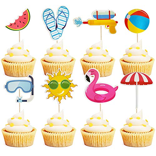 Mulukaya 32Pcs Summer Pool Theme Beach Ball Sun Umbrella Slippers Water Gun Goggles Cupcake Toppers Cake Picks for Summer Birthday Tropical Luau Hawaiian Party Supplies (Cake Picks Cupcake Party)