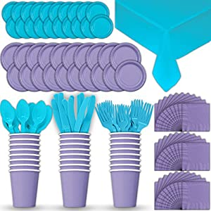 Paper Tableware Set for 24 - Lavender & Turquoise - Dinner and Dessert Plates, Cups, Napkins, Cutlery (Spoons, Forks, Knives), and Tablecloths - Full Two-Tone Party Supplies Pack