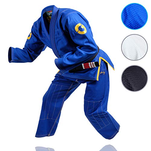 - Gold BJJ Jiu Jitsu Gi - Ultra Strong Gold Weave Premium Kimono - IBJJF Competition Approved Uniform (Blue, A3)