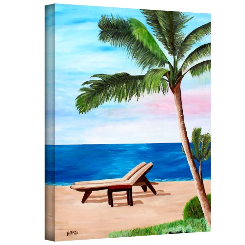 - Art Wall 'Strand Chairs on Caribbean Beach' Gallery Wrapped Canvas Artwork by Martina Bleichner, 24 by 18-Inch