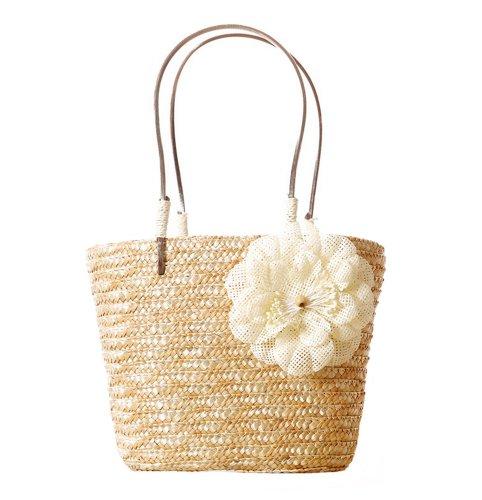Tonwhar Sweet Lady Handmade Straw Tote Bag Basket Beach Bag with Handles (Natural)