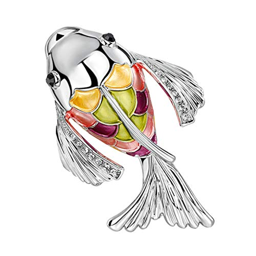 Animal Brooch Pin Women Goldfish Coat Diamond Brooch Pin Fashion Accessories (Color - Silver) ()