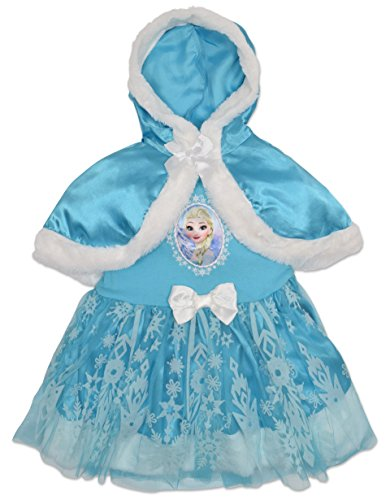 Frozen Elsa Costume Dress with Hooded Cape Toddler Girl (2T) (Frozen Toddler Costume)