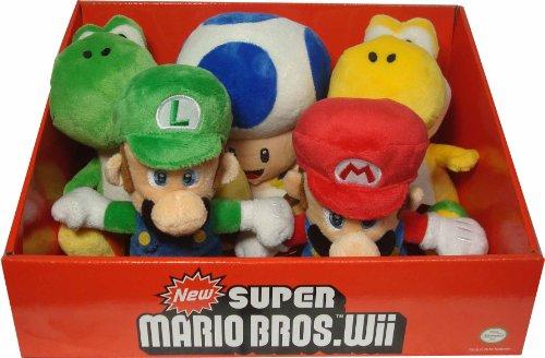 Nintendo Wii Super Mario Plush Figure Set of 5 (Green/Yellow Yoshi & Blue Toad)