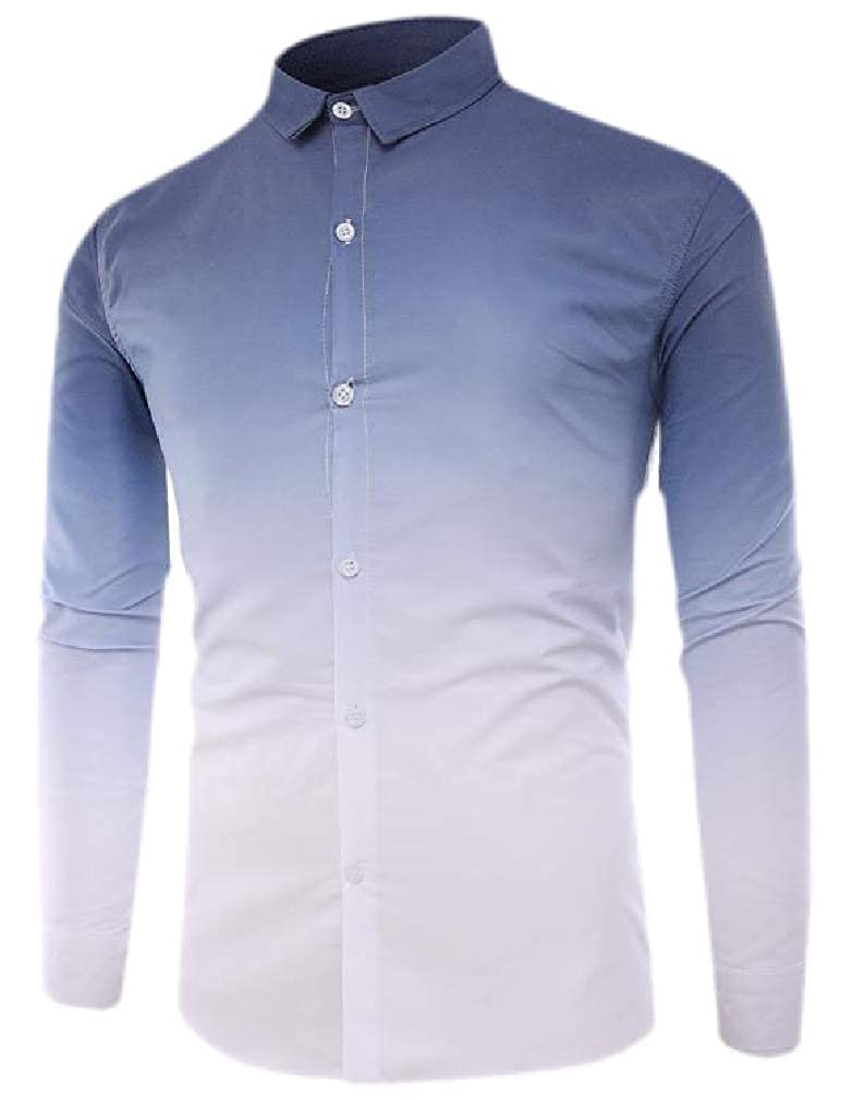 Sweatwater Mens Long Sleeve Ombre Lapel Neck Slim Fit Curved Hem Button Down Shirts