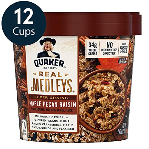 Quaker Real Medleys Super Grains Oatmeal+, Maple Pecan Raisin, Oatmeal Cups, 12 Count (Instant Oatmeal Maple And Brown Sugar Nutrition)